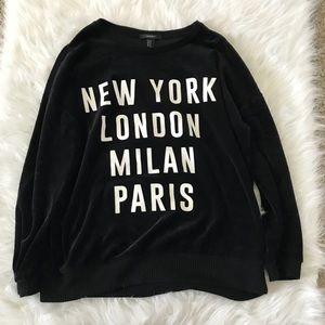 New York London Milan Paris Black Sweatshirt